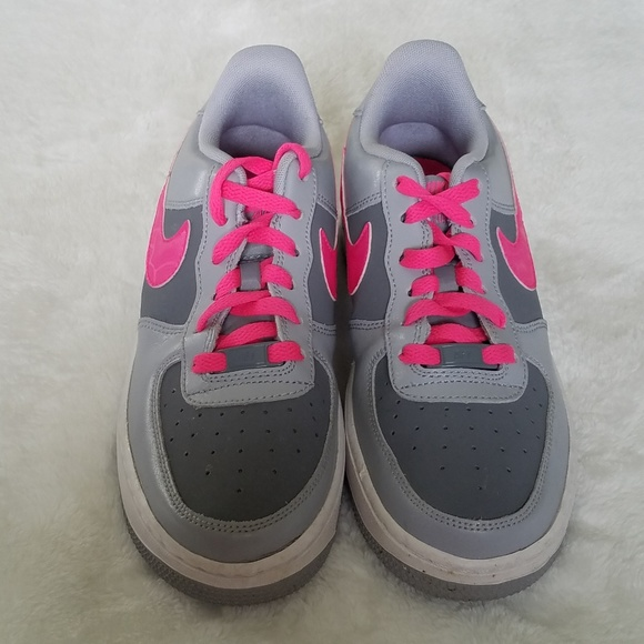 Nike Shoes Low Air Force 1 Gray With Hot Pink Trim Poshmark